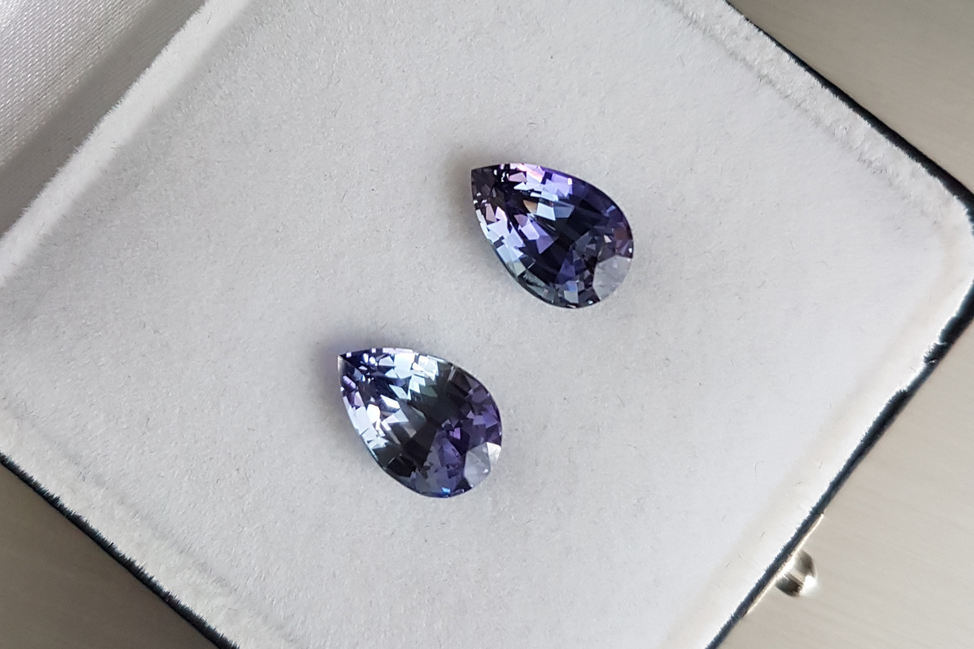 A pair of unheated tanzanites from the Zylana gem collection